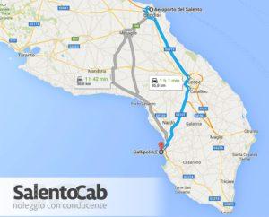 Distanza tra aeroporto di Brindisi e Gallipoli e tempo di percorrenza